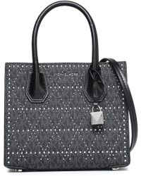 MICHAEL Michael Kors - Studded Printed Leather Tote - Lyst