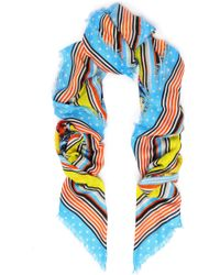 Mary Katrantzou - Woman Printed Modal And Cashmere-blend Scarf Light Blue - Lyst