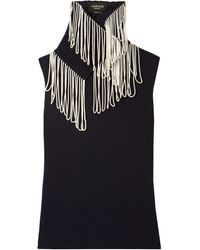 CALVIN KLEIN 205W39NYC Convertible Fringed Ribbed-knit Turtleneck Sweater Midnight Blue