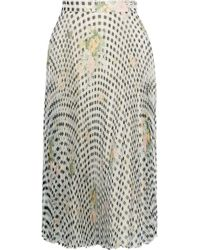 Christopher Kane Pleated Printed Silk-organza Skirt Light Gray