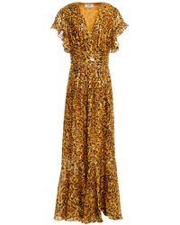 Ba&sh Gemma Wrap-effect Leopard-print Fil Coupé Silk-blend Maxi Dress - Metallic