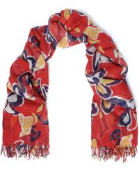 Chan Luu Frayed Floral-print Cashmere And Silk-blend Gauze Scarf Red