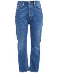 Acne Studios Log Cropped High-rise Straight-leg Jeans Mid Denim - Blue