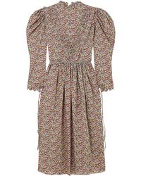 Horror Vacui - Margarethe Scalloped Printed Cotton-poplin Midi Dress - Lyst