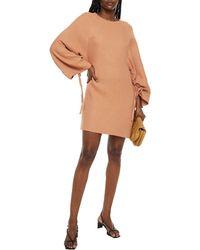 Rodebjer Elureta Gathered Houndstooth Woven Mini Dress - Orange