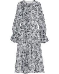 Mikael Aghal Ruffled Printed Chiffon Midi Dress Black