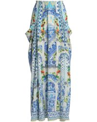 Camilla A Night To Remember Crystal-embellished Printed Silk Maxi Skirt Blue