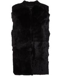 Maje Goat Hair Vest - Black