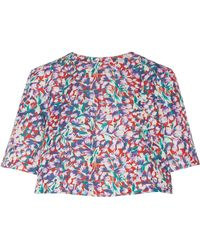 SUNO - Floral-print Cotton-blend Faille Top - Lyst