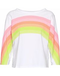 J Brand - Neon Striped Cotton-jersey Top - Lyst
