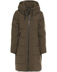 DKNY Quilted Shell Down Hooded Coat Army Green