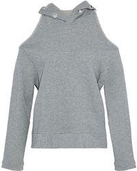 RTA - Cold-shoulder Eyelet-embellished Distressed Cotton-terry Sweatshirt - Lyst