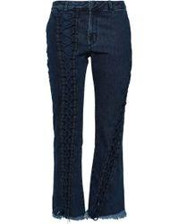Marques'Almeida Off-the-shoulder Striped Cotton-poplin Shirt Royal Blue