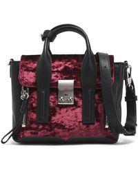 3.1 Phillip Lim - Leather-trimmed Velvet Shoulder Bag - Lyst