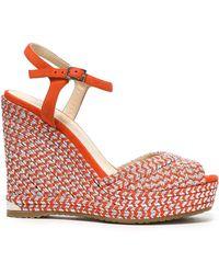 Jimmy Choo - Woman Perla 120 Suede And Metallic Woven Wedge Sandals Bright Orange - Lyst