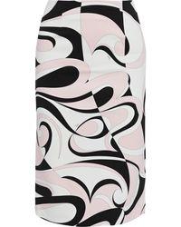 Emilio Pucci Printed Stretch-cady Pencil Skirt - Pink