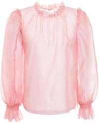 Sea Ruffled Silk-organza And Cotton-jersey Top - Pink