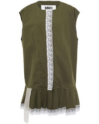 MM6 by Maison Martin Margiela - Oversized Lace-trimmed Cotton-canvas Vest Leaf Green - Lyst