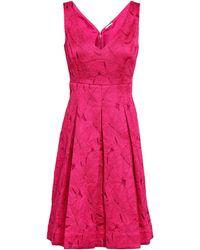 Elie Tahari Camelia Pleated Jacquard Dress Fuchsia - Multicolor
