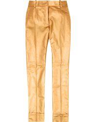 Ronald Van Der Kemp Metallic Leather Flared Trousers