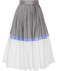 Vika Gazinskaya - Pleated Color-block Cotton-poplin Midi Skirt - Lyst