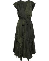 Ulla Johnson Abella Asymmetric Ruffled Crinkled-satin Midi Dress Forest Green
