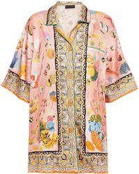 Etro Printed Silk-twill Shirt Baby Pink