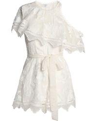 Zimmermann - Mercer One-shoulder Embroidered Silk-chiffon Playsuit - Lyst