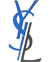 Saint Laurent Metal Brooch Cobalt Blue