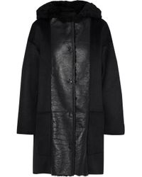 Yves Salomon Reversible Panelled Shearling And Cashmere Hooded Jacket Black