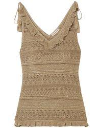 Ulla Johnson Noley Tasselled Metallic Crochet-knit Tank Gold
