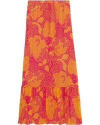 Diane von Furstenberg Camila Printed Silk-chiffon Maxi Skirt - Orange