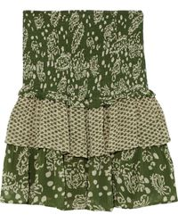Cecilie Copenhagen Cecilie Copenhagen Tess Tiered Panelled Printed Crepe Mini Skirt - Green