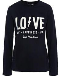 Love Moschino Printed Stretch-cotton Jersey Top Black