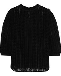 W118 by Walter Baker Blanche Ruffle-trimmed Lace Blouse - Black