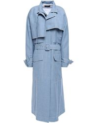 JOSEPH Belted Linen, Wool And Silk Trench Coat Light Blue