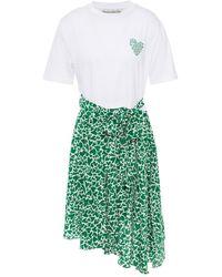 Être Cécile Être Cécile Camou Heart Sadie Panelled Printed Jersey And Silk Crepe De Chine Dress - White
