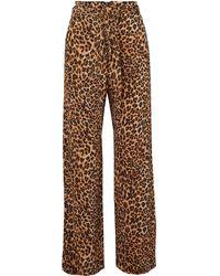 Nanushka Luma Leopard-print Stretch Plissé-jersey Straight-leg Trousers Animal Print - Brown