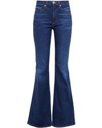 Veronica Beard Beverly High-rise Flared Jeans Dark Denim - Blue