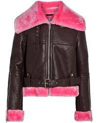 Walter Baker Die Faux Shearling-trimmed Leather Biker Jacket Dark Purple