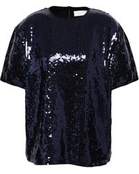 Victoria, Victoria Beckham - Sequined Woven Top Navy - Lyst