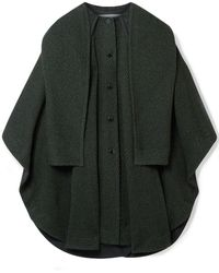 See By Chloé See By Chloé Cape-effect Marled Wool-blend Twill Coat Dark Green