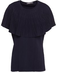 Lela Rose Layered Pleated Knitted Top - Blue