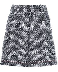 Thom Browne Frayed Cotton-blend Tweed Shorts Navy - Blue