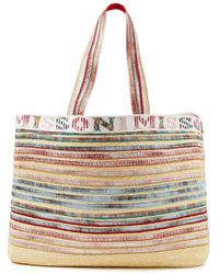 Missoni Jacquard-trimmed Metallic Striped Straw Tote Baby Pink