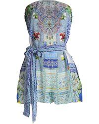 Camilla - Belted Printed Silk-georgette Playsuit - Lyst