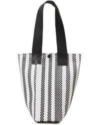 Truss Le Sac Leather-trimmed Woven Raffia-effect Shoulder Bag Black