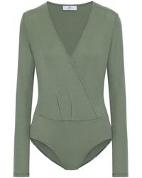 AG Jeans Lola Wrap-effect Ribbed Stretch-lyocell Jersey Bodysuit Gray Green