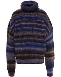 Altuzarra Kelley Striped Wool-blend Turtleneck Jumper - Blue