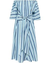 TOME Off-the-shoulder Striped Stretch-cotton Midi Dress Sky Blue